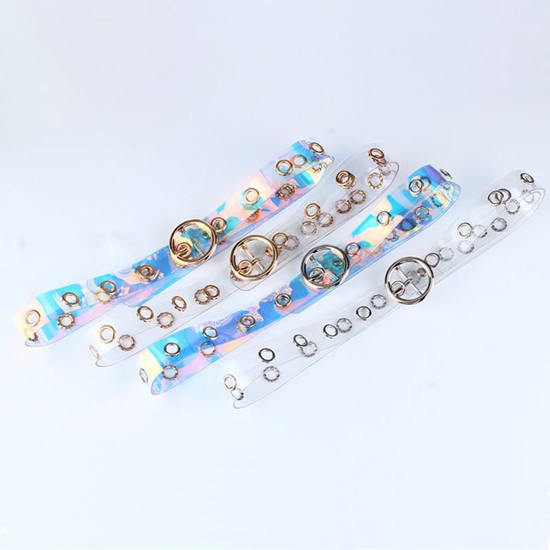 Fashion Color Transparent Women Belt Heart Round Pin Buckle Casual Belts Personality Creative Girl Waistband For Jeans Pants Z30 in Women 39 s Belts from Apparel Accessories