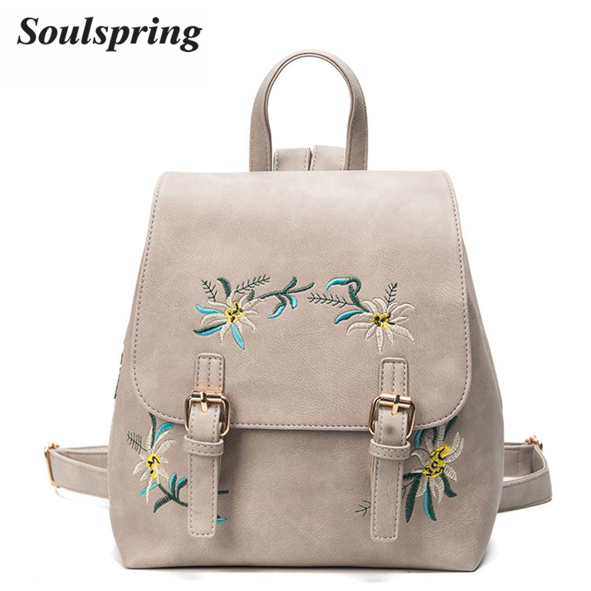 93b2cb56a9f1 Fashion Floral Pu Leather Backpack Women Embroidery School Bag For Teenage  Girls Brand Ladies Small Backpacks Gray Sac A Dos