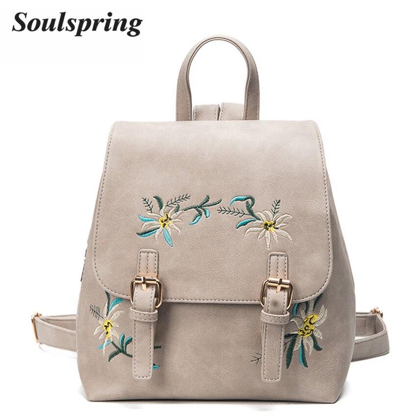 moda floral pu mulheres mochila Técnica : Gravando