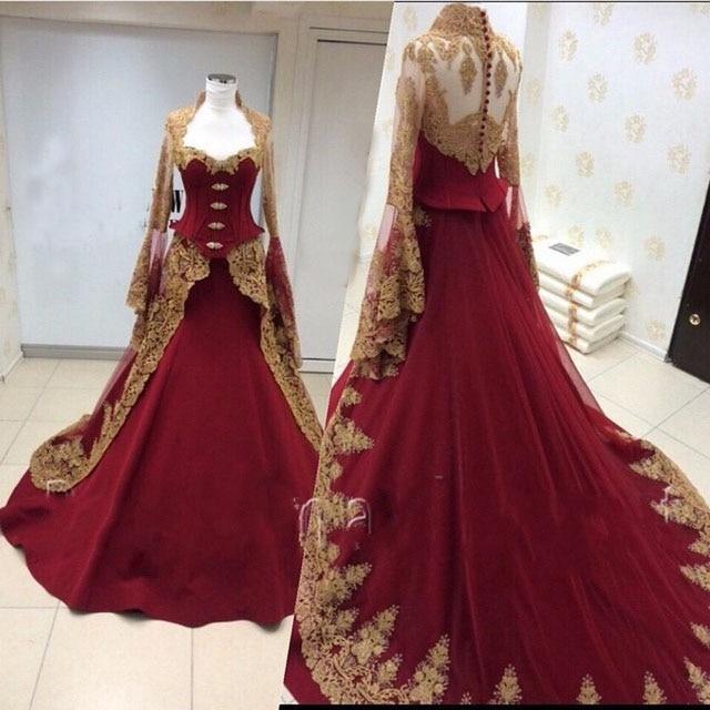 New 2016 burgundy a line long sleeve wedding dresses plus for Burgundy wedding dresses plus size