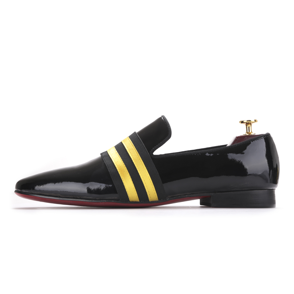 leather shoes for men Black patent leather mosaic personalized horizontal handmade men's shoes