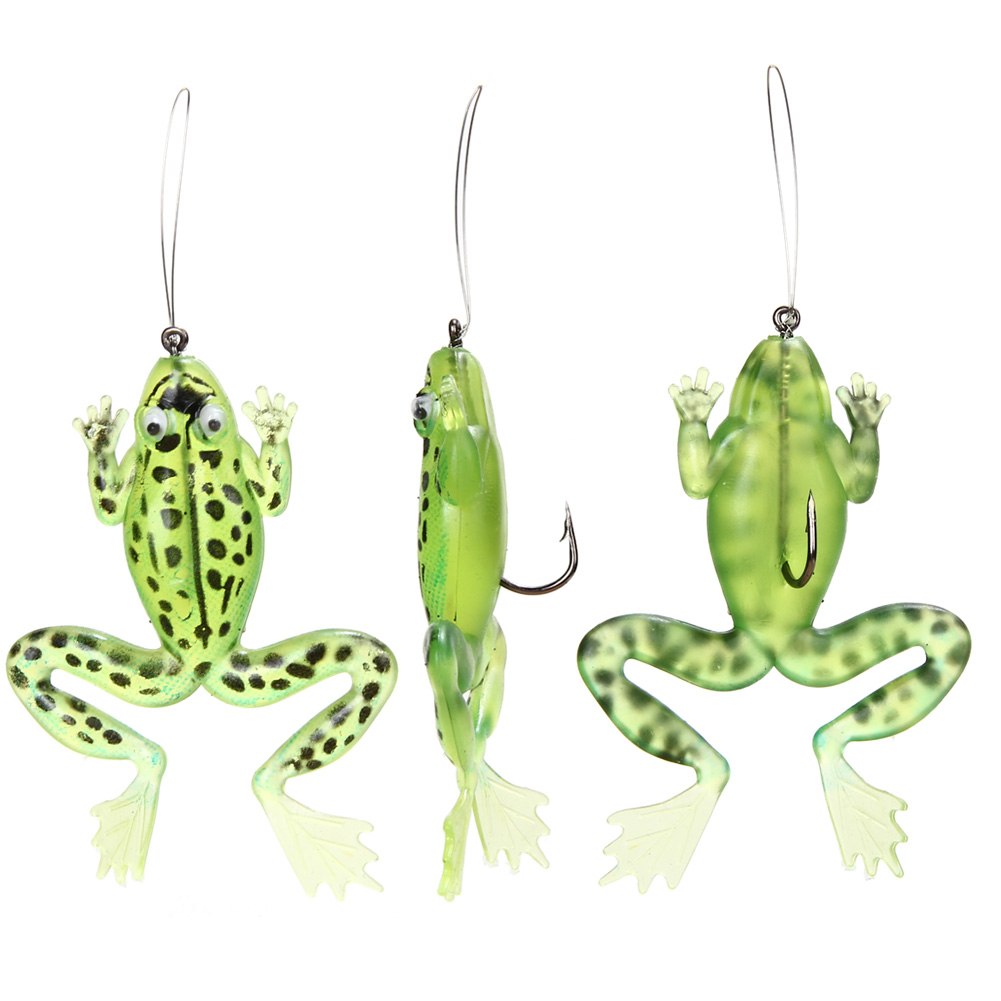 3 Pcs/lot Rubber Frog Fishing Lures Crankbait Bass Artifical sea Carp Fish Bait with Jig Hook Tackle 10cm/3.9in 2017 wldslure 1pc 54g minnow sea fishing crankbait bass hard bait tuna lures wobbler trolling lure treble hook