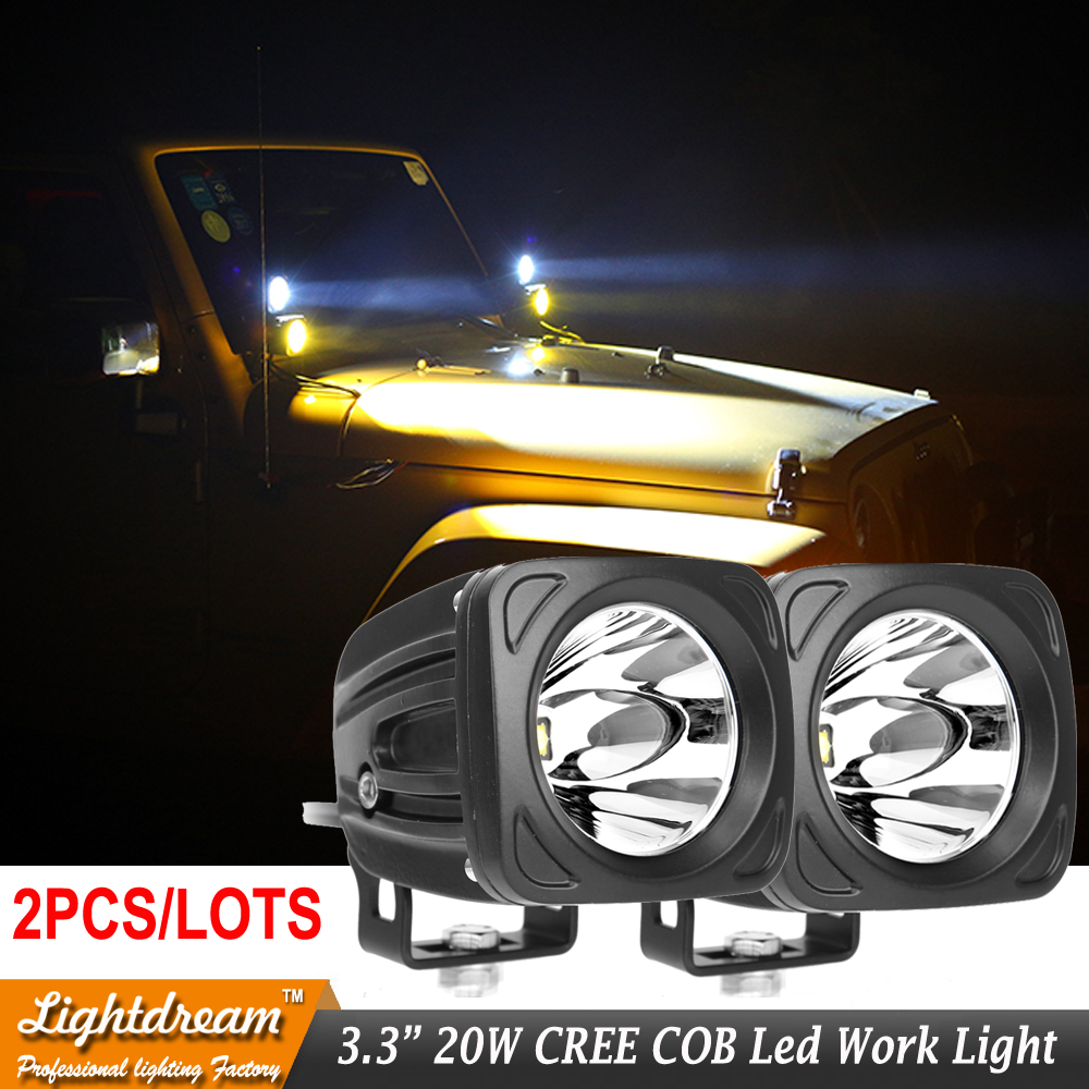 2pcs/lots 20W LED Work Light Car Auto SUV ATV 4WD 4X4 Off road LED Driving Fog Lamp Motorcycle Truck Headlight spot Flood lights 2pcs dc9 32v 36w 7inch led work light bar with creee chip light bar for truck off road 4x4 accessories atv car light