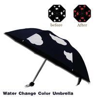 1pc Color Changing Umbrella 57cm Black Sunscreen Water Color Change Umbrella Waterproof Creative Gift 3