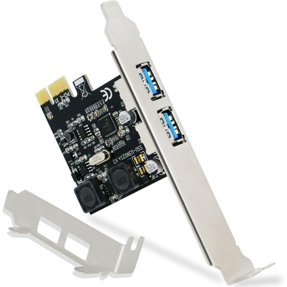 Super Fast 2 Ports USB 3.0 5Gbps PCI Express PCI-E 1X Expansion Card Self-Powered For Desktop PC Windows XP, 7, Vista, 8, 10 купить в Москве 2019
