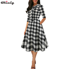 цена на Ladies Work Wear Tunic Plaid Stripe Printed Patchwork Dress Half Sleeve A Line Tie Neck Swing Rockabilly Dresses Vestidos Mujer