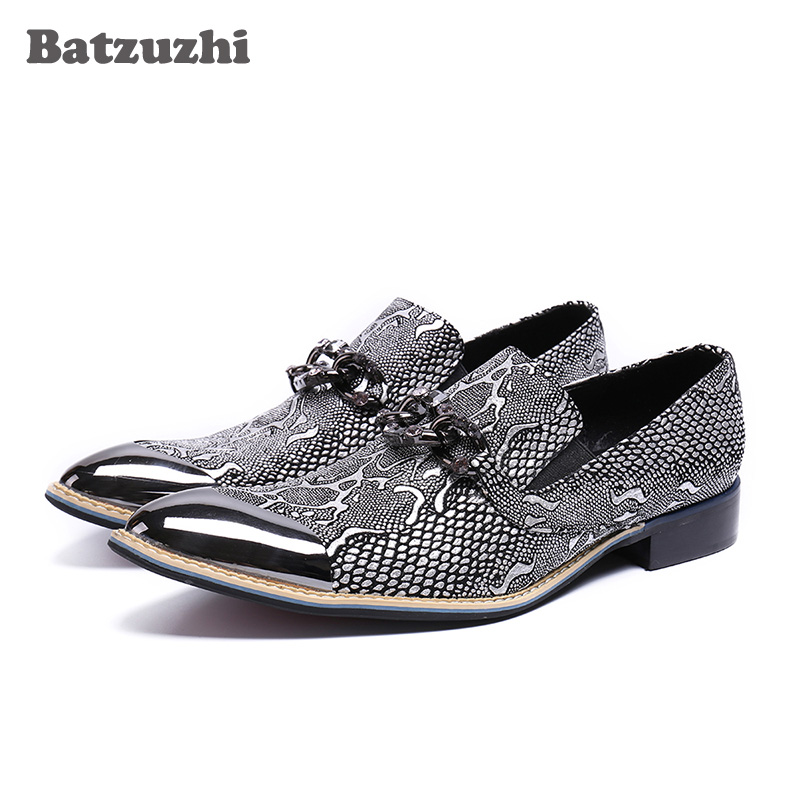 Здесь можно купить  Batzuzhi Luxury Italy Fashion Men Shoes Silver Metal Cap Leather Dress Shoes Flats Business Party Wedding Zapatos Hombre, US12  Обувь