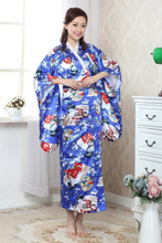 Shanghai Story hot sale Vintage Japanese Style Dress Japan Women's Silk Satin Kimono Yukata Evening Dress H0010