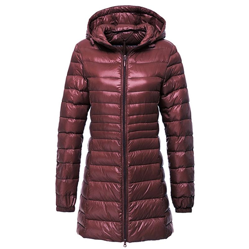 de7541eec US $65.0 |2018 New Autumn Winter Slim Down Coat Women Ultra Light White  Duck Down Jackets Hoode Windproof Female Outwears ZG019-in Down Coats from  ...