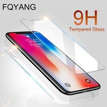 FQYANG Front and Back 2PCS Tempered Glass For IPHONE XS MAX XR X 8 7 6S 6 PLUS 5SE 5C 4S Screen Protector Protective Film