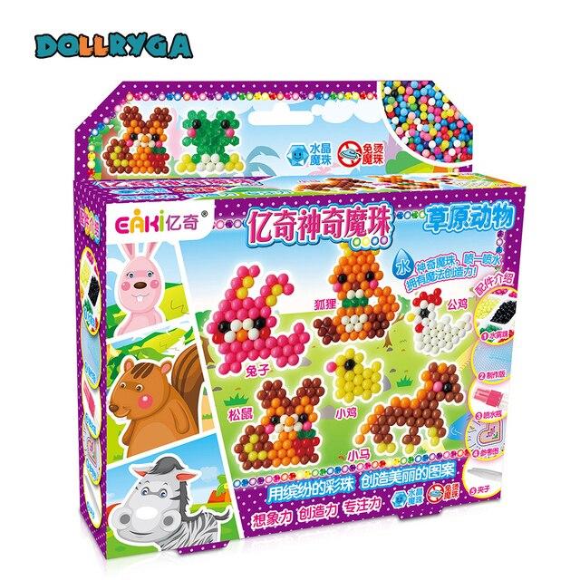 DOLLRYGA 3D Beads in Puzzle For Children DIY Aqua Set Bead Cuentas For Kid Artesanato Material Jouet Enfant Foam Beads Girl Gift