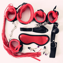 Black/Red/Pink/Purple 7 pcs Nylon & Plush Erotic Sex Toys For Adults Sex Handcuffs Whip Mouth Gag Sex Mask Bdsm Bondages Set(China)