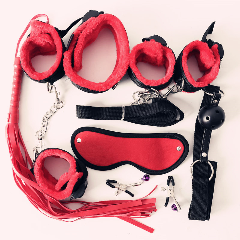 Preto/Vermelho/Rosa/Roxo 7 pcs Nylon & Plush Brinquedos Sexuais Eróticos Para Adultos Do Sexo Algemas Chicote mordaça na boca Sexo Bdsm Máscara Conjunto Escravidão