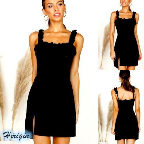 Summer Dresses 2019 New Women Summer Black Casual Sleeveless Square Collar Backless Slim Short Strap Dress in Dresses from Women 39 s Clothing