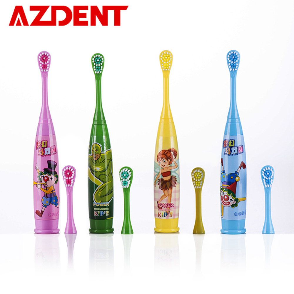 AZDENT Cartoon Pattern Children Sonic Electric Toothbrush Soft Double-sided Tooth Brush Head Electric Teeth Brush Kid Deep Clean azdent new az 2 pro electric toothbrush for adults deep clean power battery electric tooth brush 4 replaceable tooth brush head