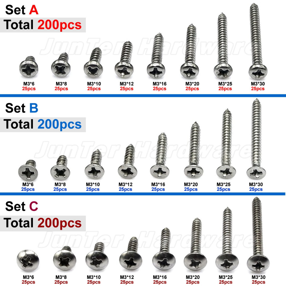 200pcs M3(3mm) A2 Stainless Steel Phillips Pan Flat Truss Head Self Tapping Screws Assortment m5 316 stainless steel phillips truss head self tapping screw marine grade page 4