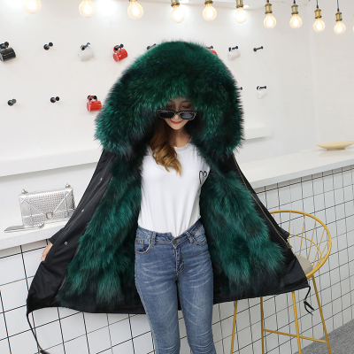 Jacket Women Winter Parkas Long Big Fox Fur Collar Hooded Coats 2018 Ladies Fur Linen Thickened Warm Jackets Plus Size Coat LZ962 (8)