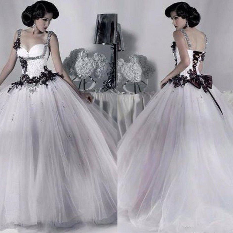 White And Black Tulle Wedding Dress Beaded Spaghetti