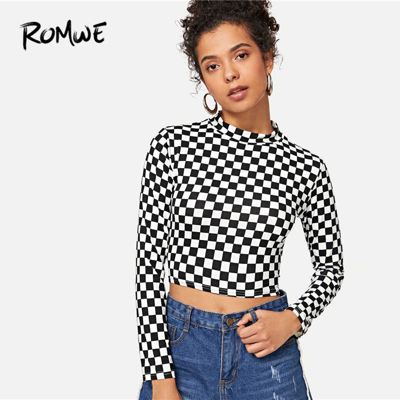 b200412c5e4d7 ROMWE Gingham Print Crop Tee 2019 Black And White Stand Collar Slim Fit T  Shirt Long