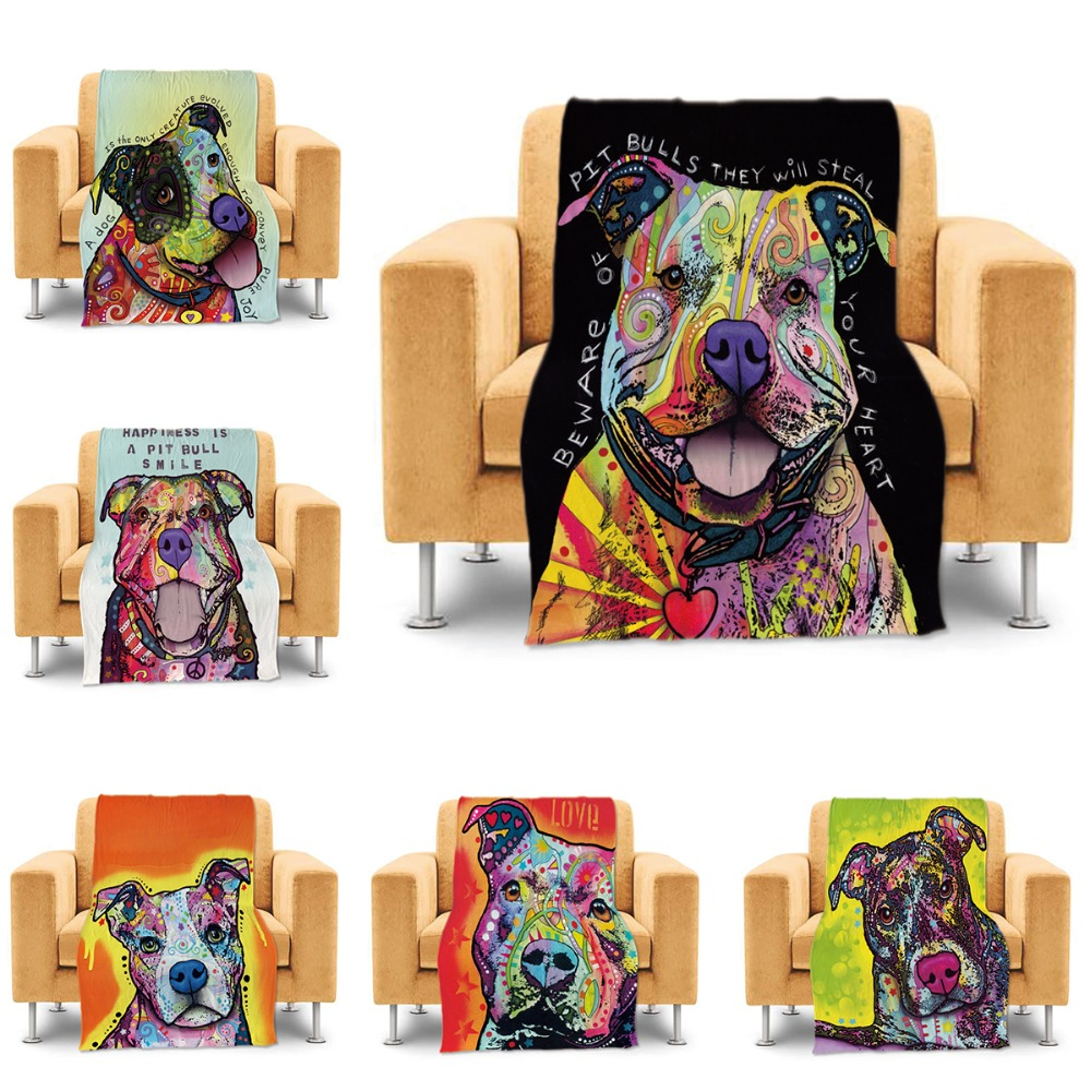 Pet Dog Design Throw Blankets Cute Pitbull Bed Sofa Couch