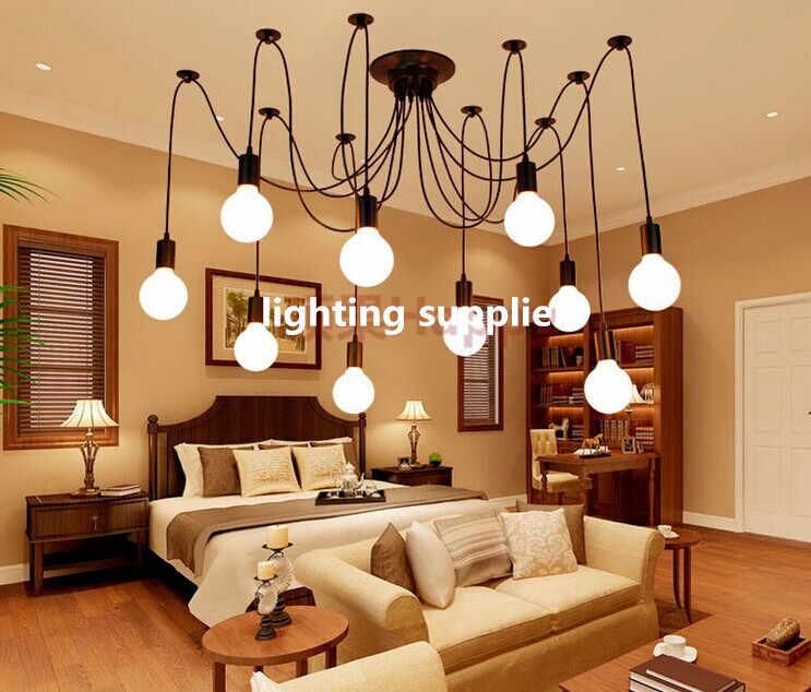Modern Nordic Retro Edison Bulb Light Chandelier Vintage Loft Antique Adjustable DIY E27 Art Spider Pendant Lamp Home Lighting