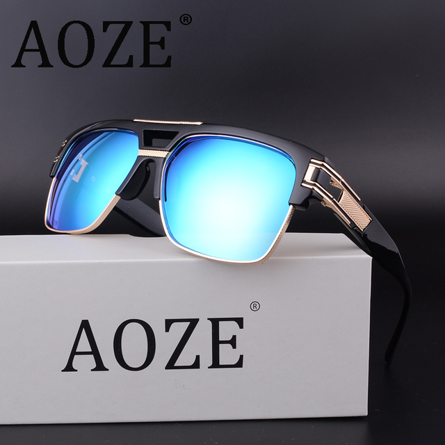 ff73a7938 AOZE hot-selling steampunk double-beam men sunglasses Women retro square  MACH High quality UV400 protective sun glasses