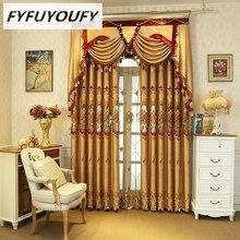Может быть изменен в европейском стиле высокого класса с вышивкой, витражные шторы для Гостиная класса люкс из полиэстера хлопчато-бумажные занавески для Спальня