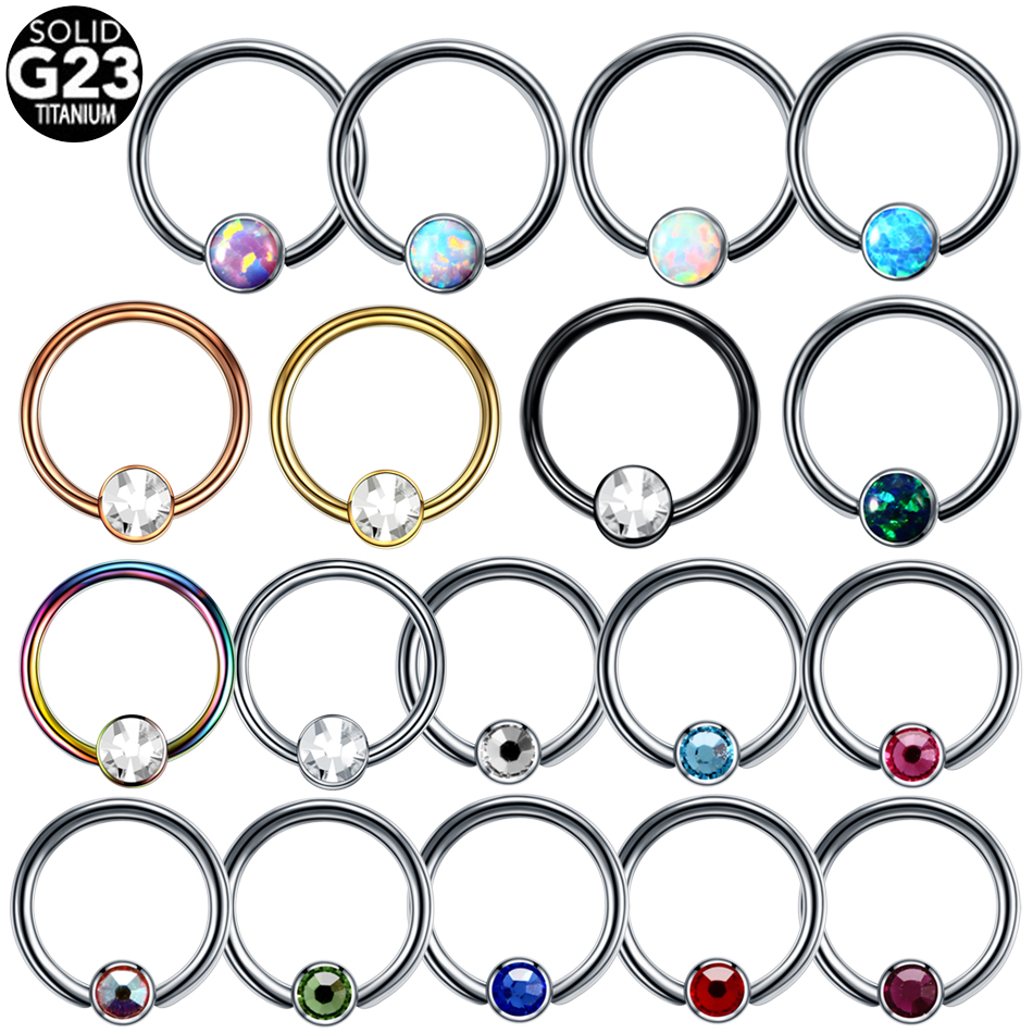 1PC G23 Titanium Opal Ear Septum Piercing Nose Ring Gem Ball BCR Piercings CBR Helix Tragus Labret Rings Piercings Body Jewelry