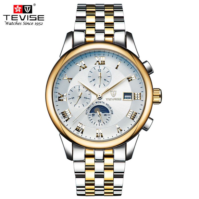 TEVISE Automatic Mechanical Watches Men Self Wind Luxury Moon Phase Stainless Steel Luminous Calendar Wristwatches TVS08