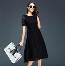 Holiday Summer Style Women Short Sleeve Black White Knee-length Dress Elegant Fashion Charming Georgette Dress Adventure Time