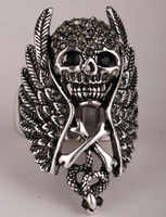 Skull Wings Stretch Ring For Women Gothic Punk Jewelry 2015 Top Fashion Antique Silver Plated S2