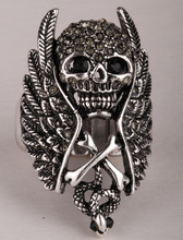Skull wings cross snake stretch ring for women biker gothic jewelry antique silver color W crystal dropshipping wholesale
