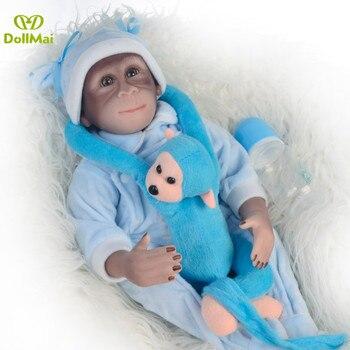 DollMai New 19inch 46CM 100% handmade reborn Monkey very soft silicone vinyl flexible Collectible macaco Boneca