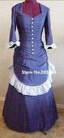 Бесплатная доставка 18 го века темно синий элегантный викторианский стиль день платье костюм суета платье