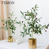 Nordic simulation plant indoor tropical artificial cloth green olive tree pots ins fake potted desktop office decoration bonsai