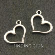 30pcs Silver Color A Simple Heart Charm DIY Jewellery Pendan