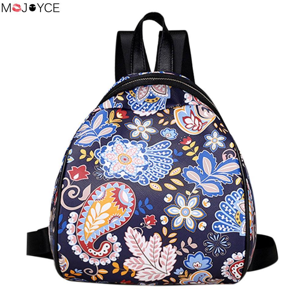 Women PU Leather flower Printed bag Students PU backpack for teenagers girls Back Pack School