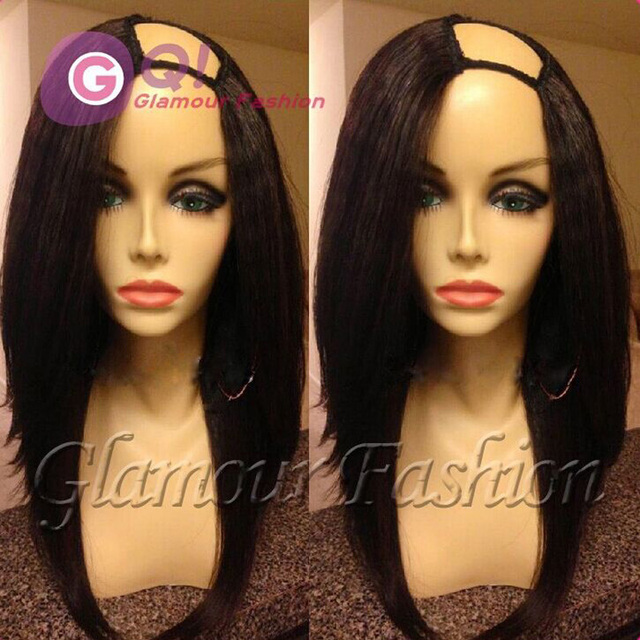 GQ Long Silky Straight bob upart Wig Brazilian Virgin u part human hair  wigs Straight U Part bob Wig All Length In Stock 130%-in Human Hair Lace  Wigs