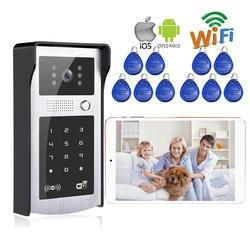 """7 """"экран монитора RFID/код беспроводной Wi-Fi видео дверь домофон для телефона Remote Monitor/разблокировать Бесплатная доставка"""