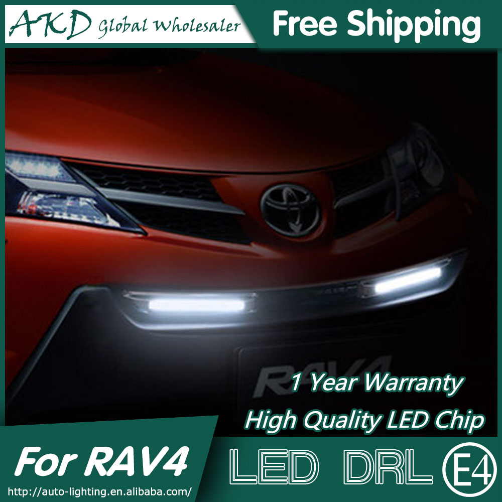 AKD Car Styling Daytime Running Light for Toyota RAV4 LED DRL 2014-2015 Rav4 LED Bumper Lamp LED Fog Light Parking Accessories akd car styling for kia sportage r drl 2014 new sportager led drl korea design led running light fog light parking accessories