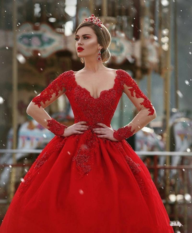 17bfc66cd6 2019 czerwone suknie ślubne suknia balowa długie rękawy