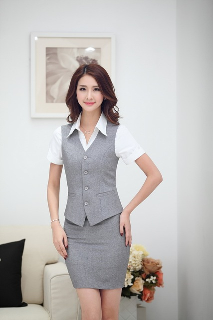 Elegant Grey Formal Uniform Style Office Work Suits Vest And Skirt 2015  Summer Business Blazers For 507308a6b632