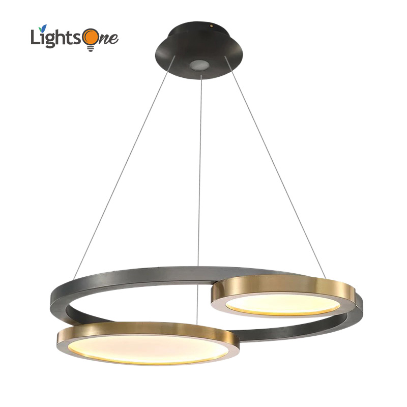 Postmodern pendant light luxury stainless steel titanium living room designer model room disc restaurant simple pendant