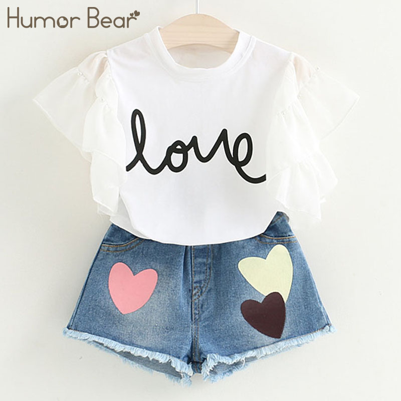 Humor Bear Kids Clothes Girls Clothes Summer Fashion Style Kids Clothing Sets Short T-shirt+Short Pants 2Pcs for Girls Suirt humor bear new girls clothes t shirt skirt 2pcs kids clothing set girls clothing sets kids clothes