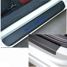 4pcs for Mitsubishi OUTLANDER Car Accessories Carbon Fiber Vinyl Sticker Car Door Protector Plate car accessories car sticker stainless steel slim for outlander wording 3d letter sticker trim for mitsubishi outlander