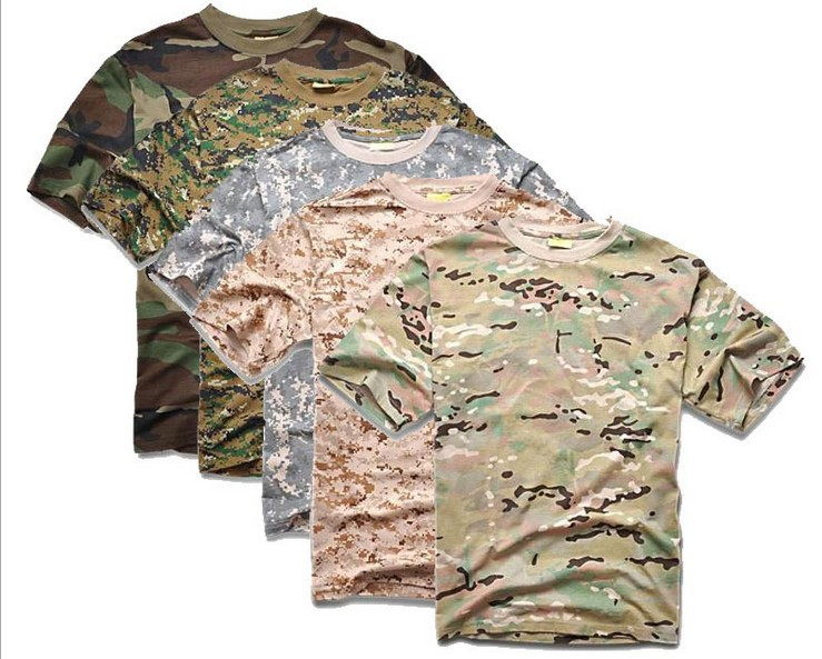 Men Summer Short Sleeve Cotton Military Tactical Camouflage T Shirt ACU Desert Digital CP Outdoor Sports T-shirts Camo Clothing - Anna's holiday store