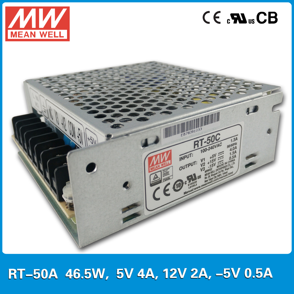 Original MEAN WELL RT-50A 50W Triple output +5V/4A +12V/2A -5V/0.5A Meanwell three output Power Supply mean well original pb 120n 54p 55 2v 2 2a meanwell pb 120n 55 2v 121 44w power supply or battery charger