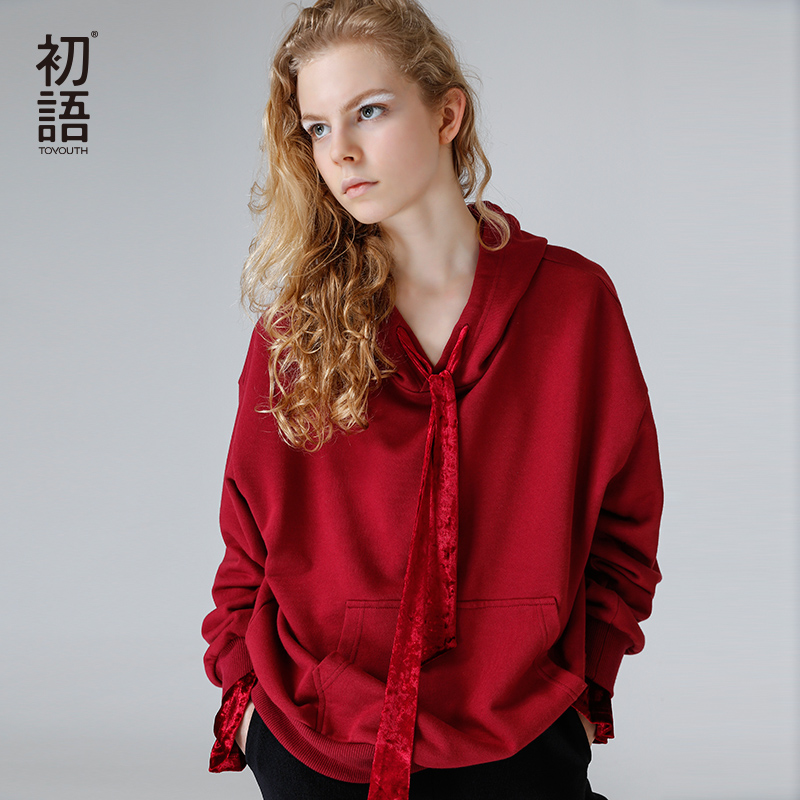 Toyouth Hooded Sweatshirts 2018 Autumn Women Loose Fake Two Pieces Patchwork Velour Casual Pullover Hoodies Female Tracksuit