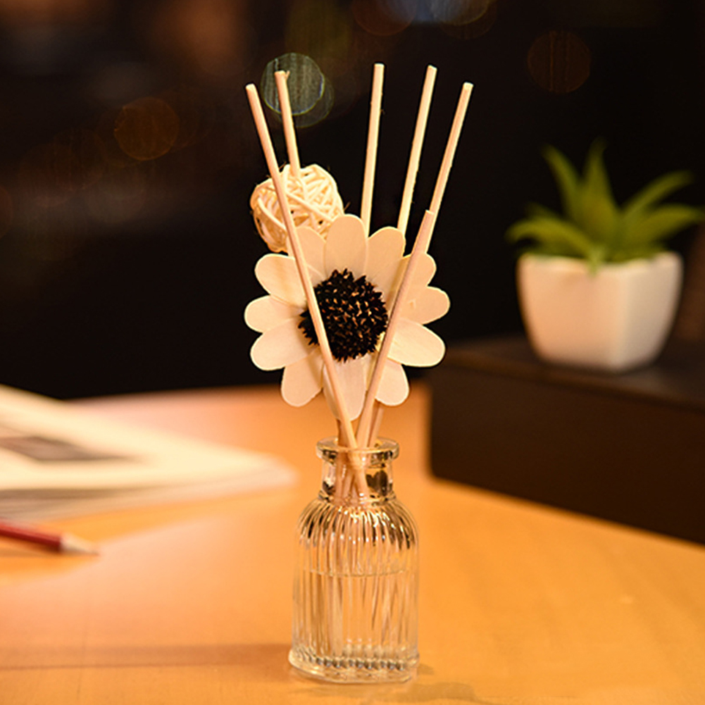 Bathroom Gift Sun Flower Reed Diffuser Set Rattan Ball Fragrance Aromatherapy Stick Hotel Home Spa Office Fresh Air Deodorant