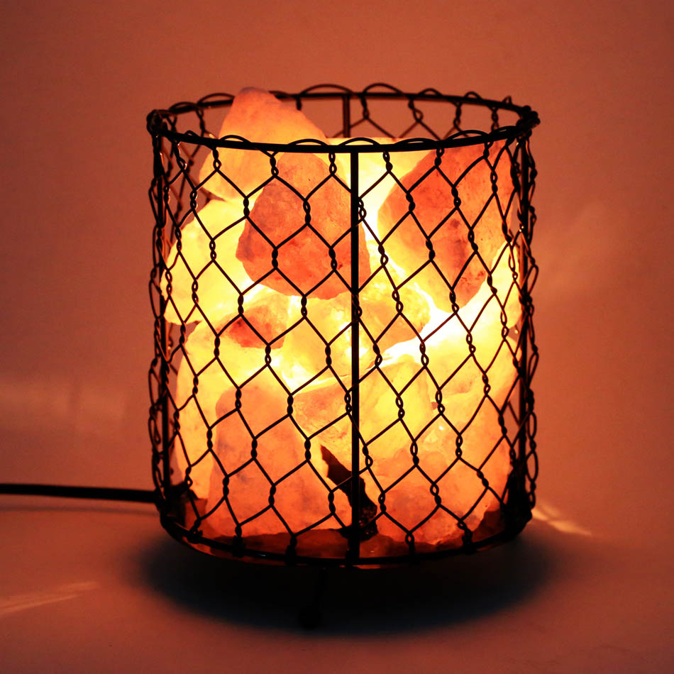 Crystal Decor Lamp Natural Himalayan Salt Wire Mesh Basket Lamp with Dimmable Switch US Plug #50-26 oygroup mini hand carved natural crystal himalayan salt lamp night light cylinder shaped illumilite lamp salt light oy17nl02